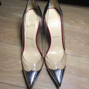 Christian Louboutin Pigalle Metal toe clear 100